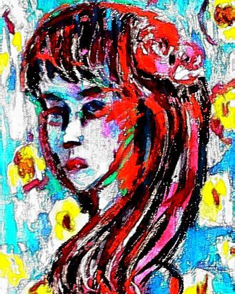 Girl Poster featuring the painting Flower Girl Portrait by Hae Kim