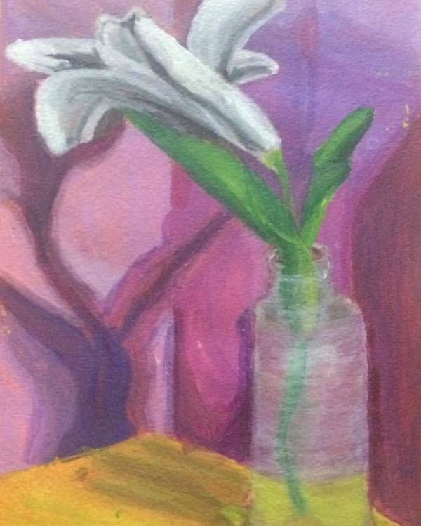 Vase Poster featuring the painting Flower In A Vase. by Jonathan Apoian