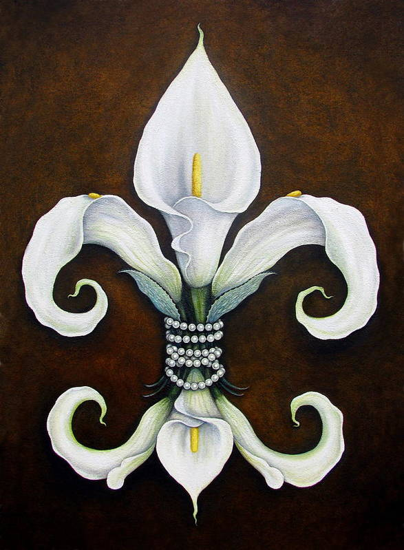 Fleur-de-lis Poster featuring the painting Flower Of New Orleans White Calla Lilly by Judy Merrell