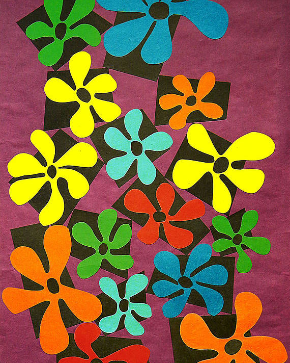 Cut Paper Poster featuring the tapestry - textile Flower Power by Teddy Campagna