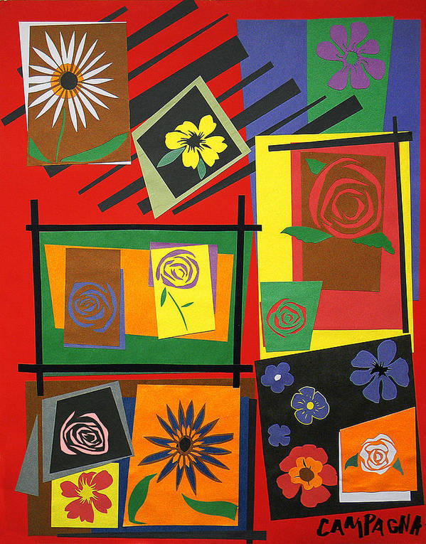 Cut Paper Poster featuring the tapestry - textile Flower Study 2 by Teddy Campagna