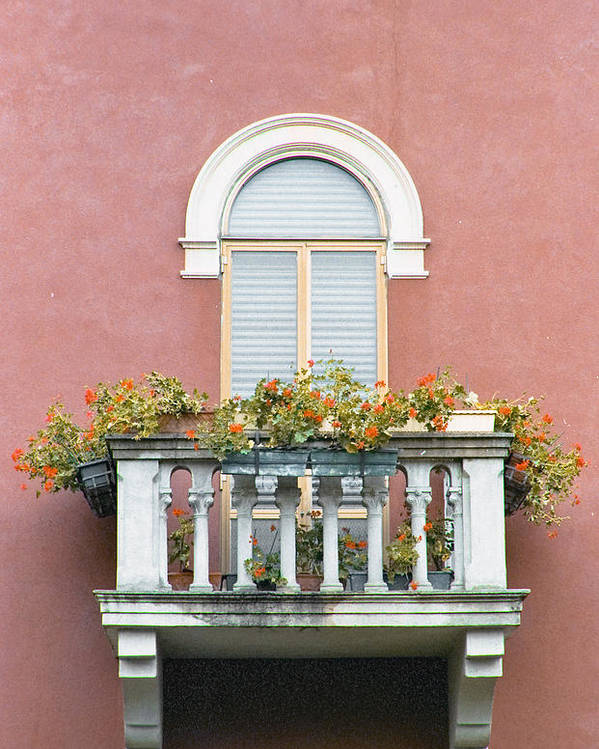 Balcony Poster featuring the photograph Flowered Italian Balcony by Lynn Andrews