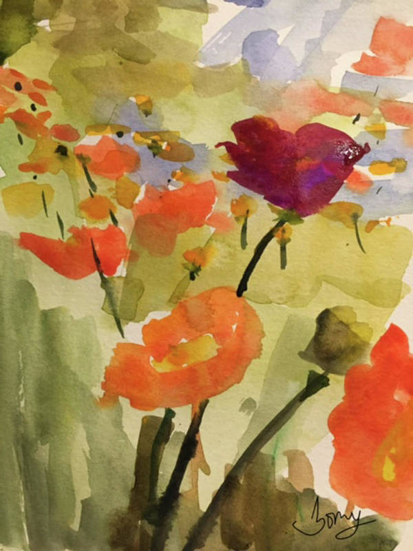 Floral Poster featuring the painting Poppy Hill by Bonny Butler