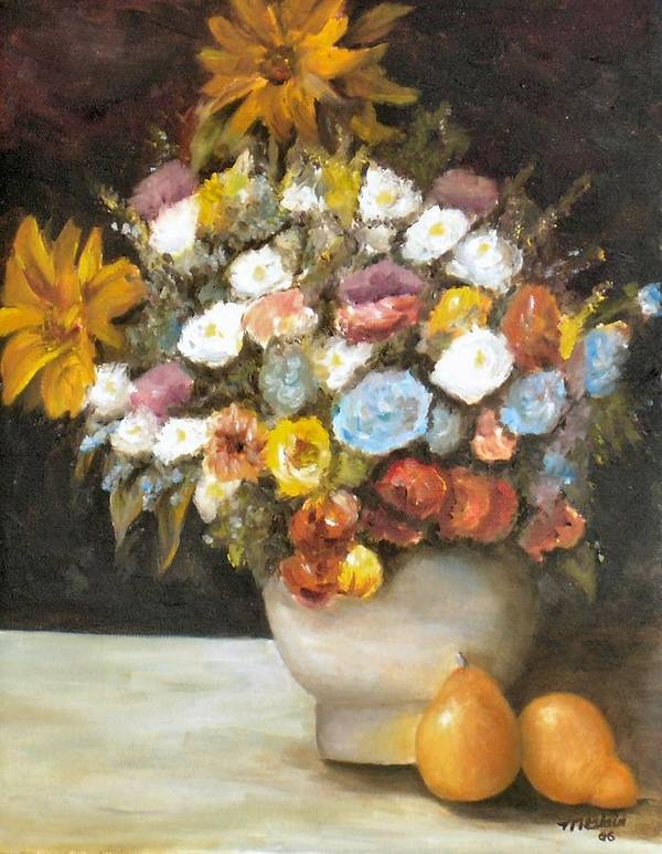 Flowers Poster featuring the painting Flowers after Renoir by Merle Blair