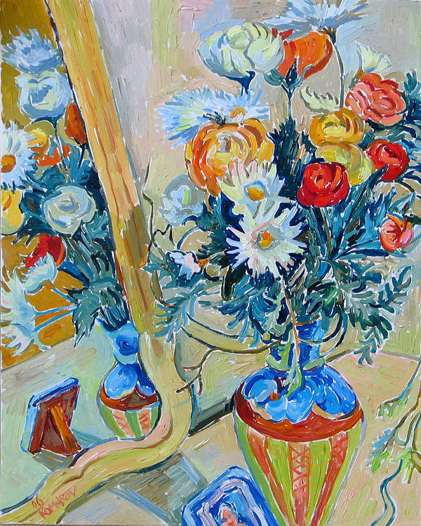 Flowers Poster featuring the painting Flowers And Memories by Vitali Komarov