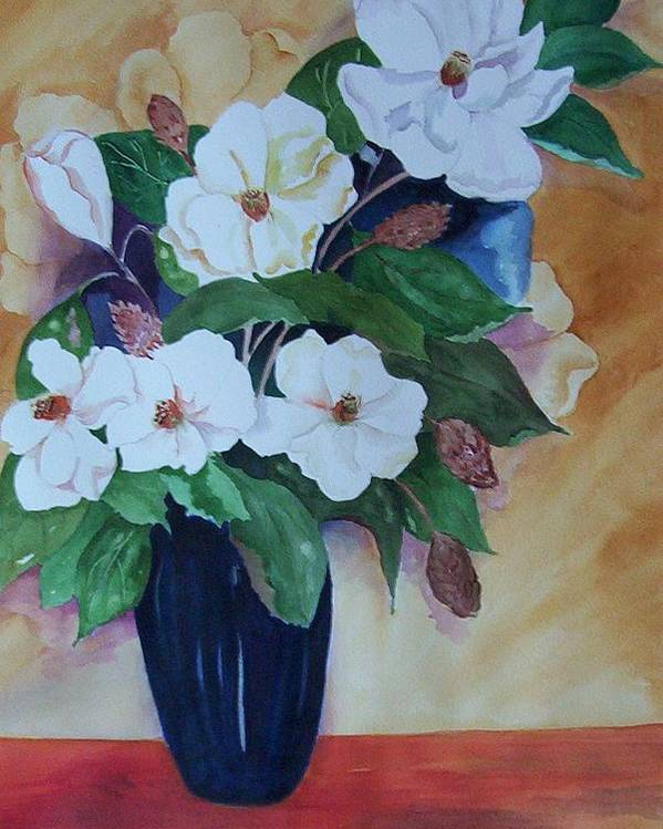 Floral Poster featuring the painting Flowers For The Table by Audrey Bunchkowski