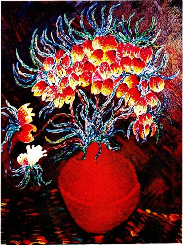 Floral Poster featuring the painting Flowers In A Red Vase by Brenda Adams