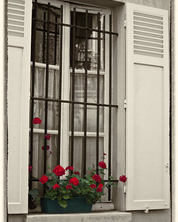 Paris Poster featuring the photograph Flowers in Paris windowbox by Sheila Smart Fine Art Photography