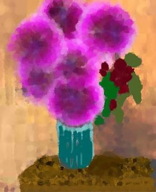 Flowers.colors.llilac.red.rose.green.blue.room.flower Vase.leaves Poster featuring the digital art Flowers In Room by Dr Loifer Vladimir