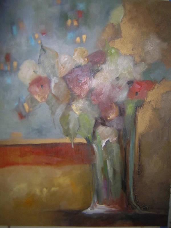 Flowers Poster featuring the painting Flowers In The Rain by M Allison