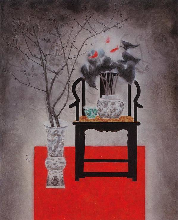 Flowers Paintings Poster featuring the painting Flowers In Vase-black Flowers by Minxiao Liu