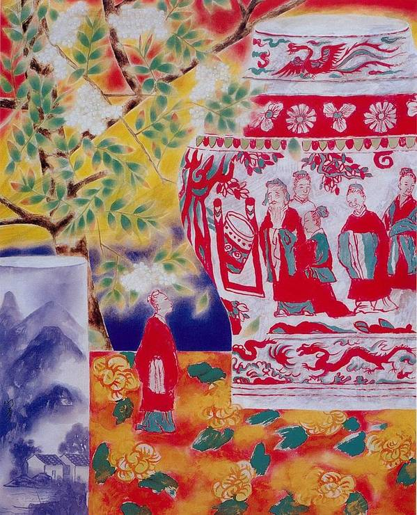 Acrylic Paintings Poster featuring the painting Flowers In Vase-in The Distance by Minxiao Liu