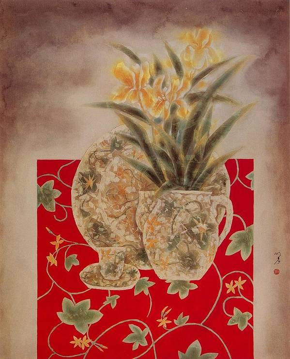 Flowers Painting Poster featuring the painting Flowers In Vase-nightngales by Minxiao Liu