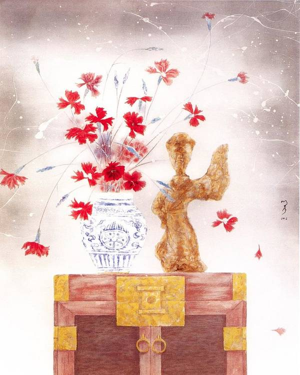 Acrylic Painting Poster featuring the painting Flowers In Vase-pottery Figurine by Minxiao Liu