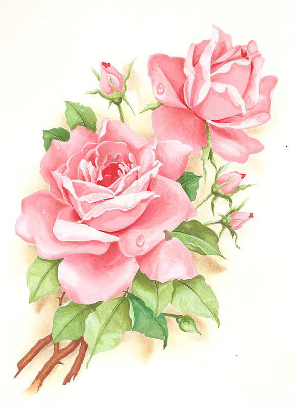 Flowers Poster featuring the painting Roses by Laura Greco