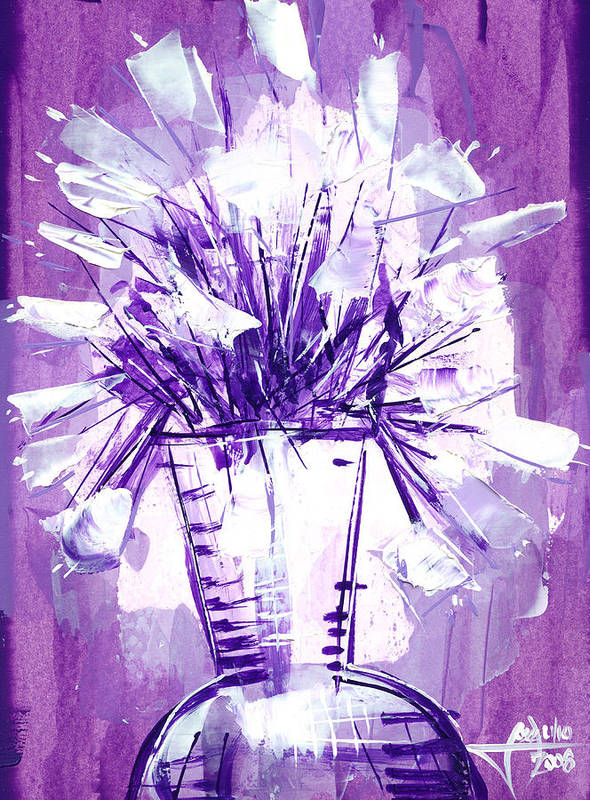 Oil Bristol Paper Abstract Reperesentative Modern Flowers Impresionism Art Painying Poster featuring the painting Flowery Purple II by Jose Julio Perez