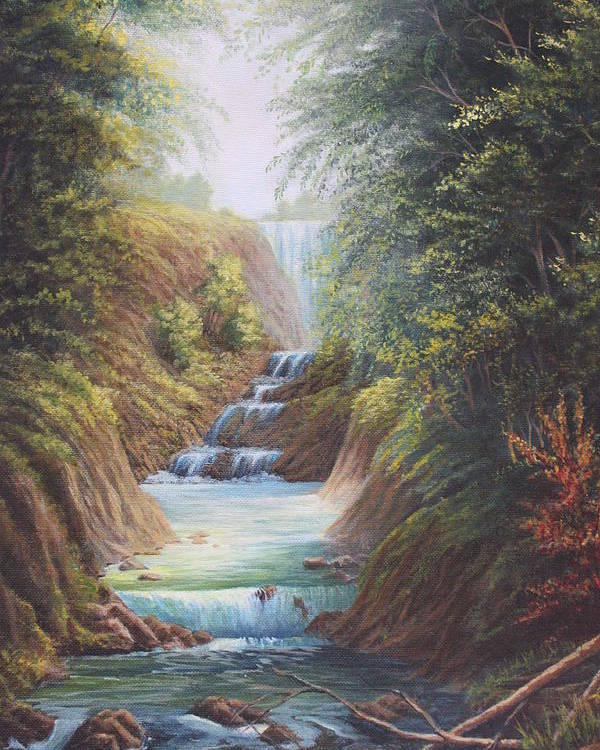 River Poster featuring the painting Flowing River by Diana Miller