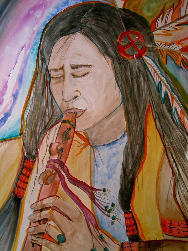Original Art Poster featuring the painting Flute Player by K Hoover