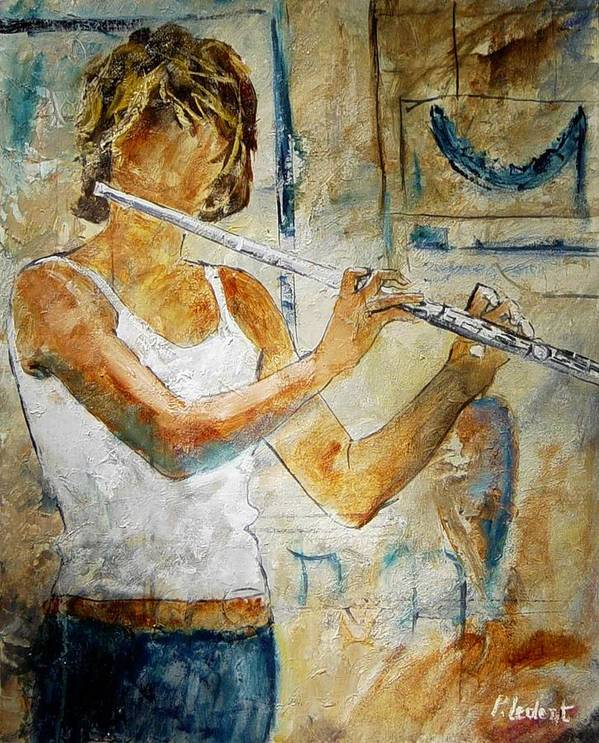 Music Poster featuring the painting Flutist by Pol Ledent