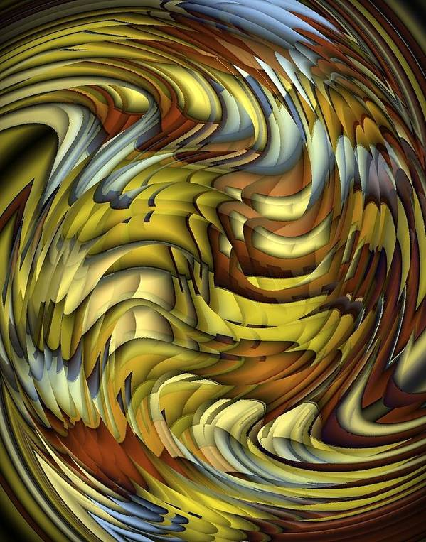 Abstract Poster featuring the digital art Flutter by Terry Mulligan