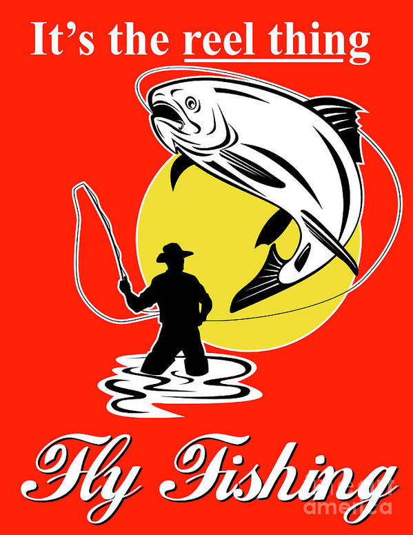 Fly Fisherman Poster featuring the digital art Fly Fisherman Catching Trout by Aloysius Patrimonio