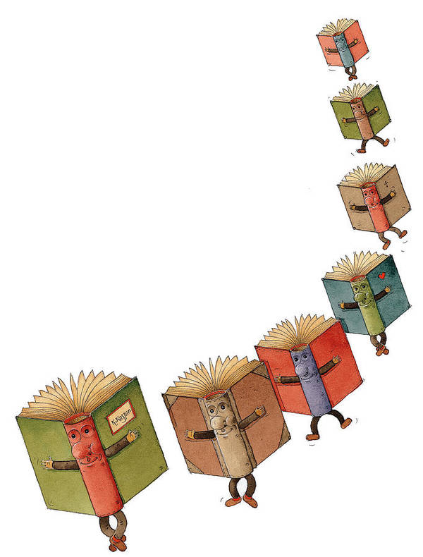 Books Flying Literature Readind Poster featuring the painting Flying Books02 by Kestutis Kasparavicius