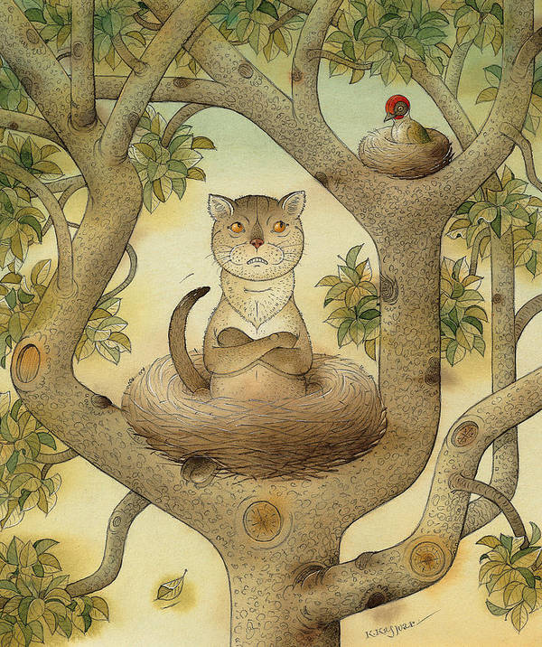 Tree Nest Cat Bird Landscape Sky Poster featuring the painting Flying cat by Kestutis Kasparavicius