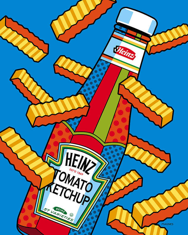 Ketchup Poster featuring the digital art Flying Fries by Ron Magnes