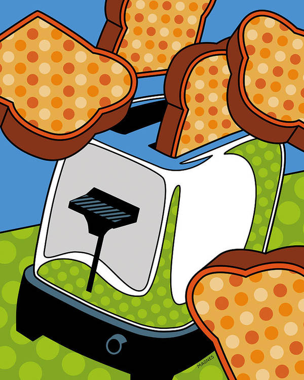 Toast Poster featuring the digital art Flying Toast by Ron Magnes