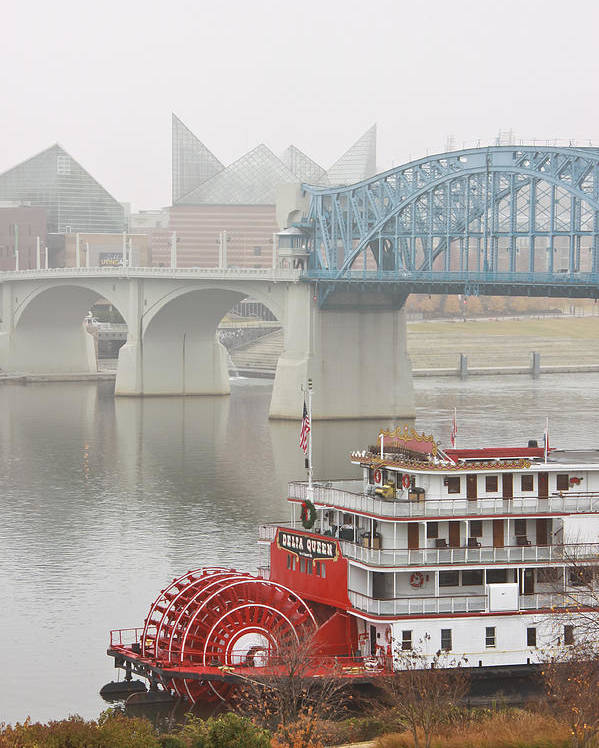 Market Street Bridge Poster featuring the photograph Foggy Chattanooga by Tom and Pat Cory
