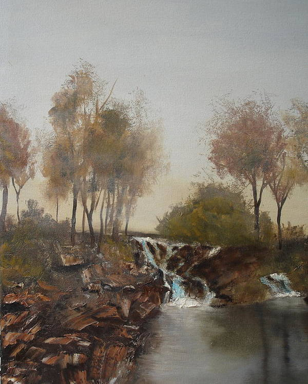 Landscape Poster featuring the painting Foggy Creek by James Eugene Moore