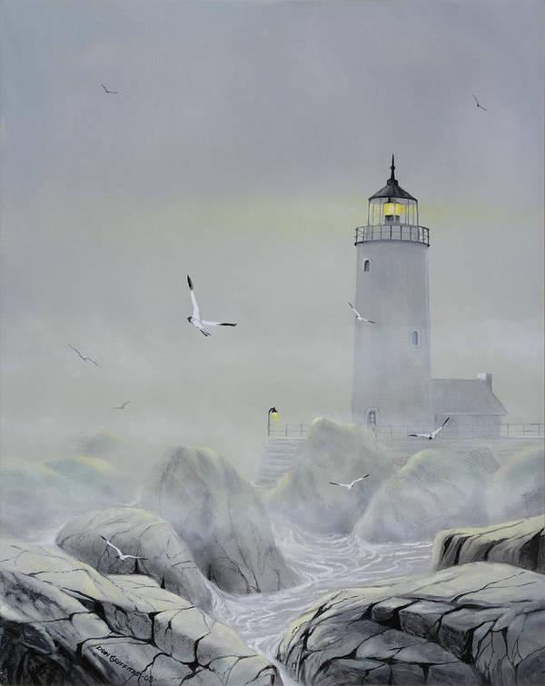 Seascape Poster featuring the painting Foggy Light by Don Griffiths