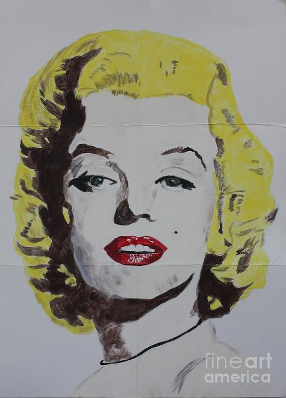 Marilyn Monroe Poster featuring the painting Folded Marilyn by Ralph LeCompte