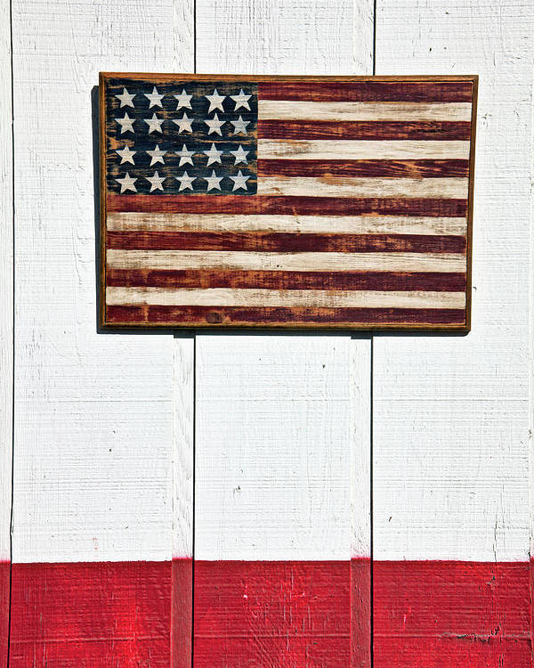 Folk Art American Flag Wooden Wall Poster featuring the photograph Folk Art American Flag On Wooden Wall by Garry Gay