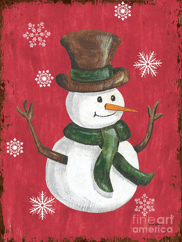 Snowman Poster featuring the painting Folk Snowman by Debbie DeWitt