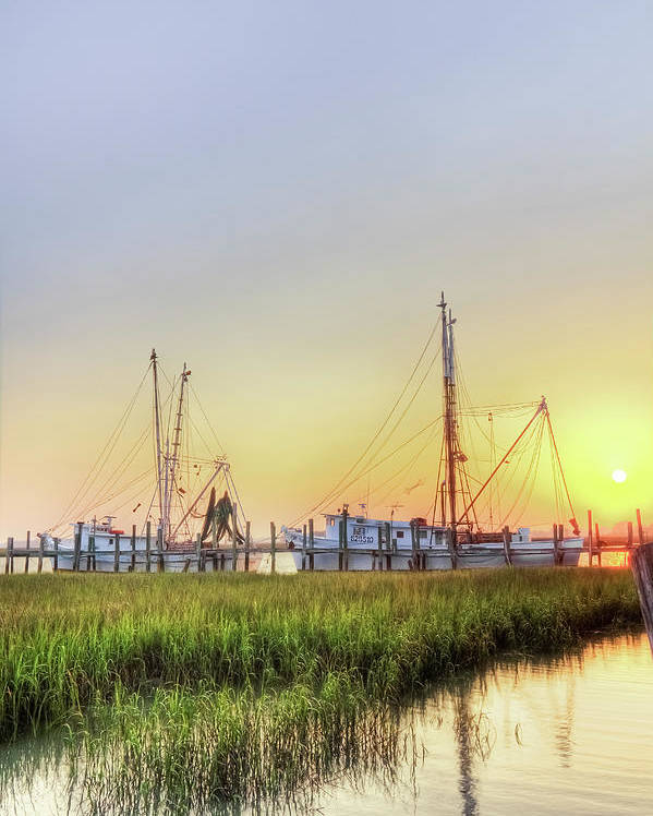 Folly Poster featuring the photograph Folly Fishing Boats by Drew Castelhano