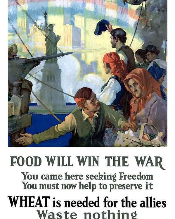 Immigrants Poster featuring the painting Food Will Win The War by War Is Hell Store