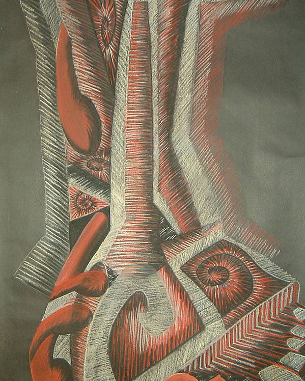 Abstract Poster featuring the drawing Foot by Donald Burroughs