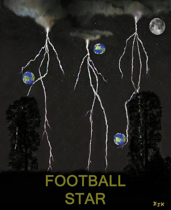 Football Star Poster featuring the mixed media Football Star by Eric Kempson