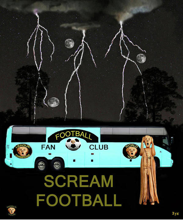 Football Tour Scream Poster featuring the mixed media Football Tour Scream by Eric Kempson