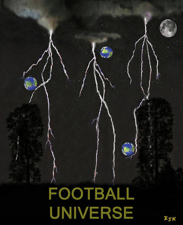 Football Universe Poster featuring the mixed media Football Universe by Eric Kempson