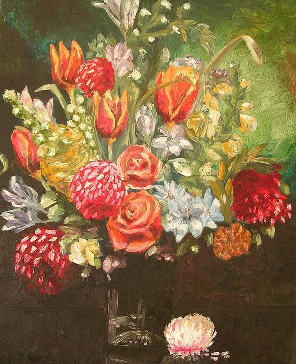 Floral Poster featuring the painting For Mom by Janos Szatmari