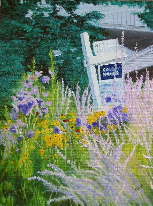 Landscape Poster featuring the painting For Sale - A Patch Of Paradise by Lea Novak