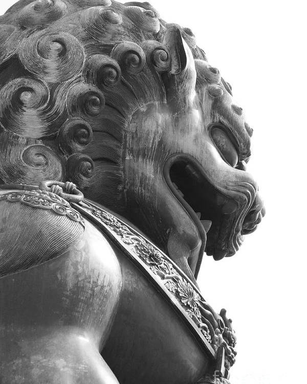 China Poster featuring the photograph Forbidden City Lion - Black And White by Carol Groenen