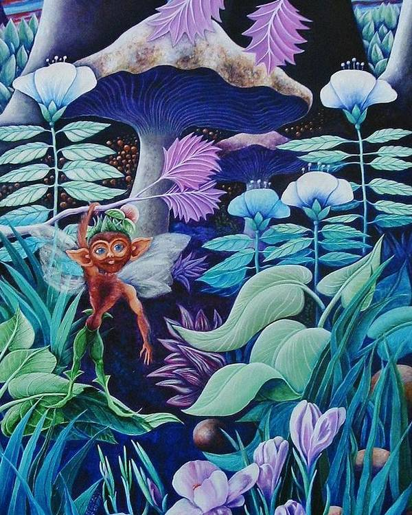 Elf Poster featuring the painting Forest Fantasy-sold by Lou Cicardo
