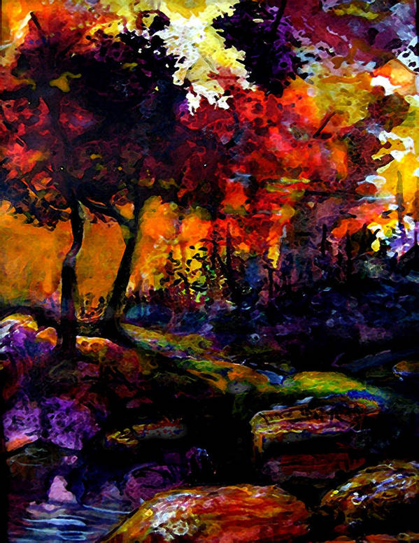 Vivid Orange And Purple Poster featuring the painting Forest Flames by Mary Sonya Conti