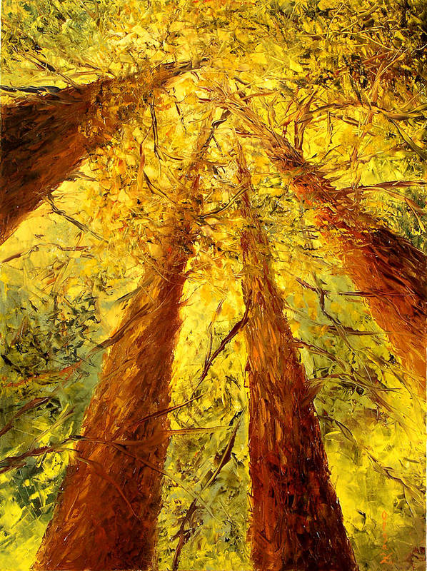 Oil Poster featuring the painting Forest by Olga Gernovski