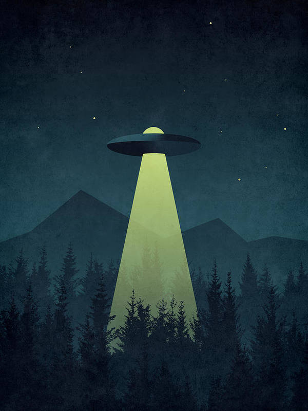 Forest Poster featuring the digital art Forest Ufo by Organic Synthesis