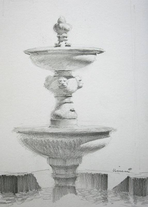Graphite On Paper Poster featuring the drawing Fountain One by Michael Vires