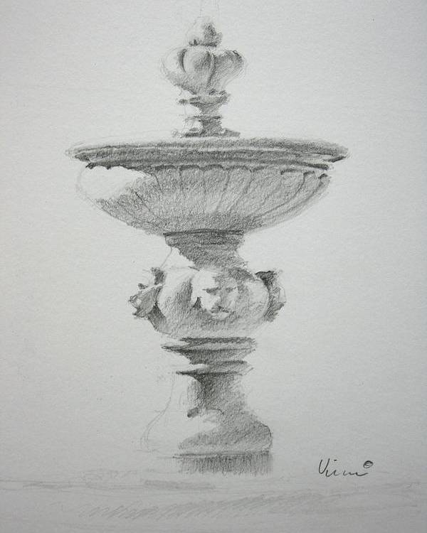 Graphite On Paper Poster featuring the drawing Fountain Two by Michael Vires